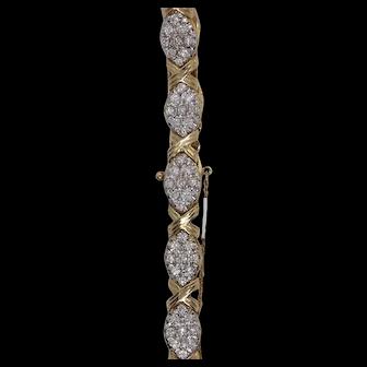 80s bracelet 5ct diamonds 14K