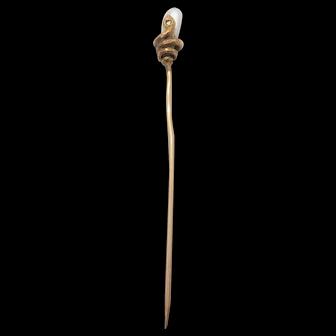 Antique serpent dogtooth stick pin with mine cut diamond
