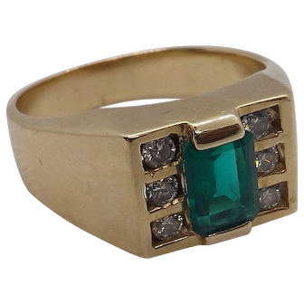 Vintage Emerald and diamond ring 1ct emerald