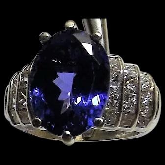 5.9ct Natural Tanzanite VVS deep blue 2ct diamonds 18K white gold