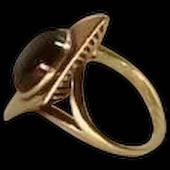Deco gothic star sapphire 14K ring, brutal shape