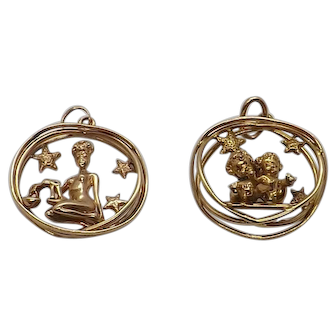 Ruser pendants, charms signed and copywrite zodiac