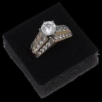 2ct diamond mount with 6.8mm CZ 14K