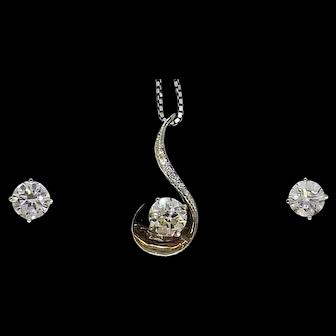 1ct diamond, 1.8ct diamond studs 14K estate sale