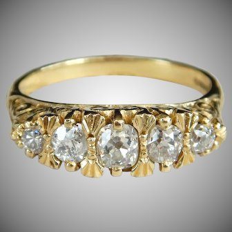 Edwardian 0.82ct Old Mine Cut Diamond Five Stone Ring 18 Carat Gold