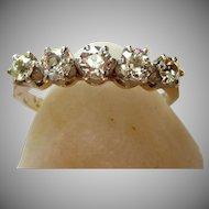 Vintage Art Deco Old Cut Diamond Five Stone Ring 18 Karat Gold Platinum
