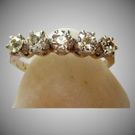 Vintage Art Deco Old Cut Diamond Five Stone Ring 18 Karat Gold Platinum
