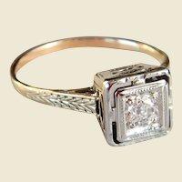 Art Deco 14kt Gold Diamond Engagement Ring