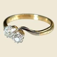 Art Deco 18kt Gold & Platinum Diamond Twist Engagement Ring