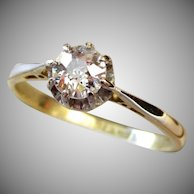 Art Deco 18 Karat Gold .44 Carat Old Cut Diamond Solitaire Engagement Ring