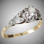 Vintage Art Deco 18 Karat Gold Platinum Set Old Cut Diamond Solitaire Engagement Ring