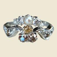 Art Nouveau 18kt Gold 1.50 Carat Cognac Champagne and White Diamond Ring
