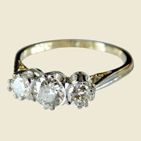Art Deco 18kt Gold 0.78ct Three Stone Diamond Engagement Ring