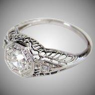 Art Deco 0.50 carat Old Cut Diamond Filigree Engagement Ring 18 Karat White Gold