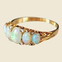 Victorian 18 Karat Gold Cabochon Opal And Diamond Five Stone Ring
