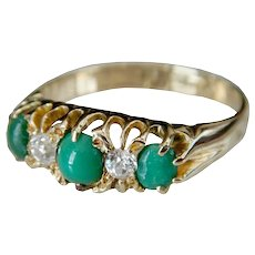 Victorian 18kt Gold Cabochon Cut Green Turquoise & Diamond Ring