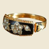 Victorian 15 Karat Gold Black Enamel Diamond Seed Pearl Mourning Ring