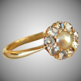 Victorian 18 Karat Gold Pearl & Rose Cut Diamond Cluster Engagement Ring