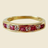 Vintage 18 Karat Gold Diamond & Ruby Half Eternity Ring