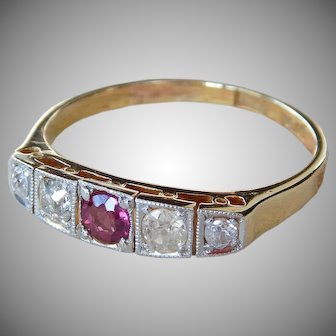 Edwardian 18 Karat Gold & Platinum Old Mine Cut Diamond And Ruby Five Stone Ring