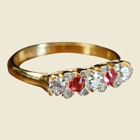 Victorian 18kt Gold Old Cut Diamond And Ruby Ring