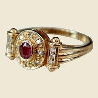 18kt Gold Ruby Sapphire & Diamond Revolving Head Ring