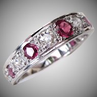Art Deco 18 Karat White Gold Old Cut Diamond And Ruby Eternity Stacking Ring