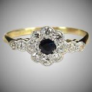 Art Deco Old Cut Diamond Cushion Cut Sapphire Ring 18 Karat Gold By Lawson Ward & Gammage