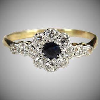 Art Deco Old Cut Diamond Cushion Cut Sapphire Ring 18 Karat Gold By Lawson Ward & Gammage