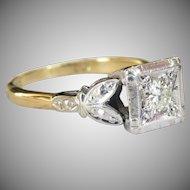 Vintage 18 Karat Gold Floral Trefoil Square Set Diamond Solitaire Ring