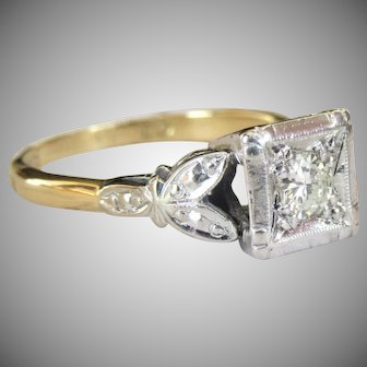 Vintage 18 Karat Gold Floral Trefoil Square Set Diamond Solitaire Ring