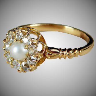 Victorian 18 Carat Gold Old Cut Diamond & Pearl Cluster Engagement Ring