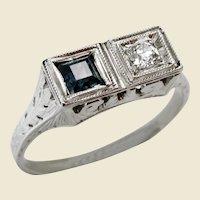 Vintage 18kt White Gold Diamond Sapphire Toi Et Moi Ring