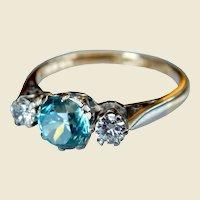 Vintage 18kt Gold Blue Zircon & Diamond Three Stone Engagement Ring