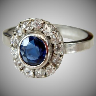 Vintage Platinum Royal Blue Natural Sapphire And Old Cut Diamond Cluster Ring