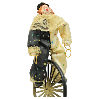 Vintage rare porcelain Clown on unicycle Victoria Impex Corp