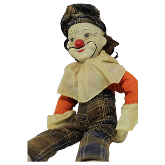 Early 1900's Vintage Wind Up Musical Clown Doll