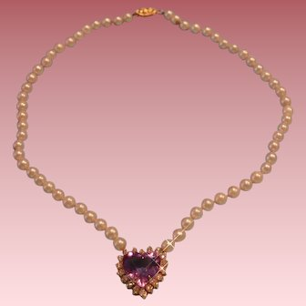 14 karat Yellow Gold Diamond Amethyst, Cultured Pearl Necklace