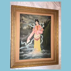 1928 OOAK Framed Oil Painting of a Chinese Lady Signed Saunder Gee