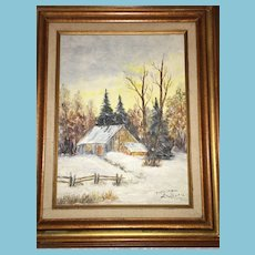 1950s-60s OOAK Framed Oil Painting 'Canadian Winter' signed Maureen LaBelle