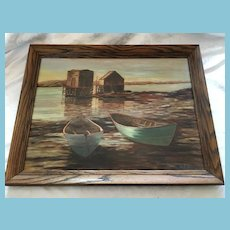 Mid 20th Century Framed Oil Seascape signed by K. Adamson