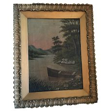 Early 20th Century OOAK Wilderness Lake Framed Oil on Canvas Painting