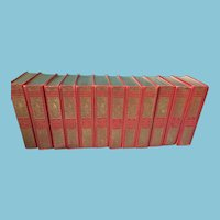 1905 Set of Twelve 'The Chiswick Shakespeare' Red and Gold Books