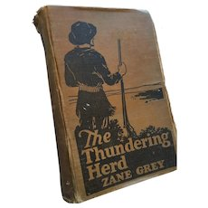 1925  hardcover book ‎'The Thundering Herd' by Zane Grey
