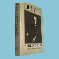 1984 First Edition 'Duff: A Life in the Law' by David Ricardo Williams