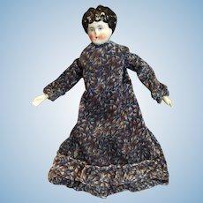 "11"" Black Hair Low Brow German China Head Doll by Hertwig"