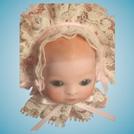 Signed Artist-Made Bisque Doll Head in a Shadow Box Frame