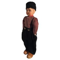 """Very Old Papier Mache 20"""" Dutch Boy Doll with Carved Wooden Shoes"""