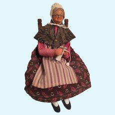 Very Old Knitting French Lady Doll Sitting on a Chair