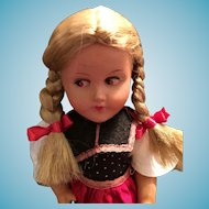 """Lovely Early 10"""" Hard  Plastic Doll in Traditional German Costume"""